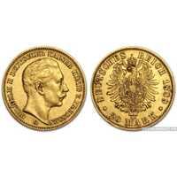 "20 марок 1889 года ""Вильгельм ІІ""(золото, Германия), фото 1"