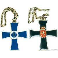 Жетон в виде креста с королевской эмблемой и датами 1881-1901, полковой, финский Россия, С.-Петербург 1901 г., фото 1
