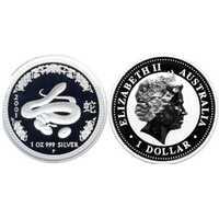 1 доллар Елизавета II. Лунар. Год Змеи. 2001 год, фото 1