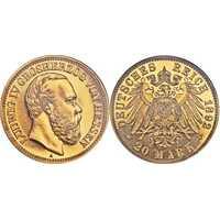 20 марок Людвиг IV. Гессен. 1892 год, фото 1