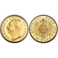20 марок Фридрих I. Ангальт. 1904 год, фото 1