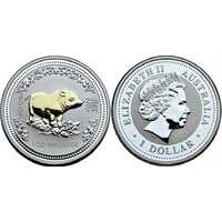 1 доллар Елизавета II. Лунар. Год свиньи. ПОЗОЛОТА. 2007 ГОД, фото 1