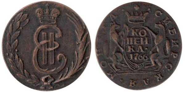 1 копейка 1766 года, Екатерина 2, фото 1