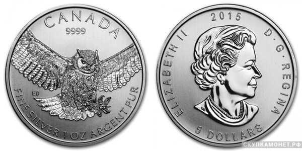 5 долларов 2015 года «Большая Ушастая Сова»(серебро, Канада), фото 1