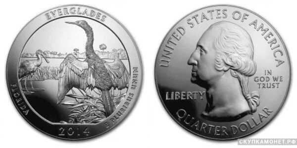 25 центов 2013 года «Прекрасная Америка»(серебро, США), фото 1