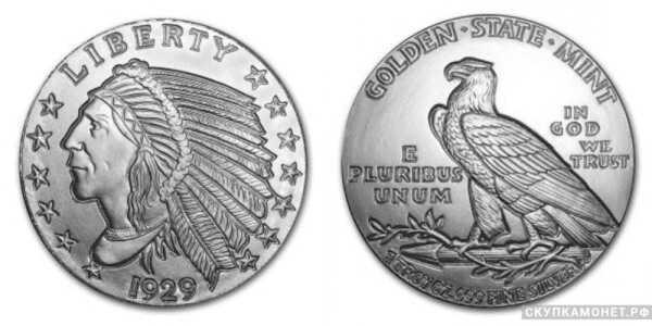 1 монета 1929 года «Американский Индеец»(серебро, США), фото 1