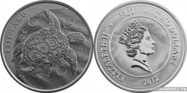 2 доллара 2012 года «Черепаха Таку»(серебро, Фиджи), фото 1