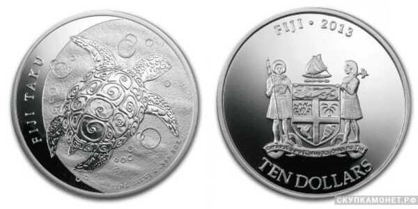 10 долларов 2013 года «Черепаха Таку»(серебро, Фиджи), фото 1