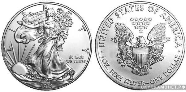 1 доллар 2014 года «Американский Орел»(серебро, США), фото 1