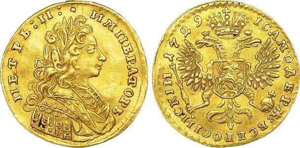 1 червонец 1729 года, Петр 2, фото 1
