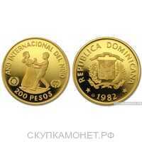 200 песо 1982 года(золото, Доминиканская республика), фото 1
