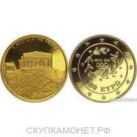 "100 евро 2004 года, Золотая монета Греции – ""Афинский Акрополь"", фото 1"