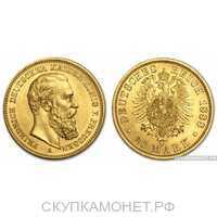 """20 марок 1888 года """"Фридрих""""(золото, Германия), фото 1"""
