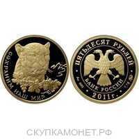 50 рублей 2011 год (золото, Переднеазиатский леопард), фото 1