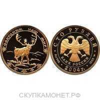100 рублей 2004 год (золото, Северный олень), фото 1