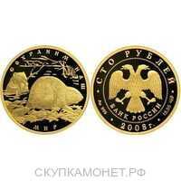 100 рублей 2008 год (золото, Речной бобр), фото 1