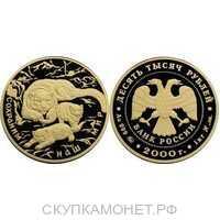 10000 рублей 2000 год (золото, Снежный барс), фото 1
