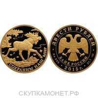 200 рублей 2015 год (золото, Лось), фото 1