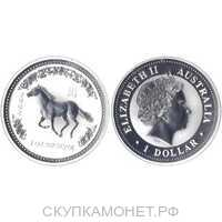 1 доллар Елизавета II. Лунар. Год Лошади 2002 год, фото 1