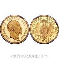 20 марок Фридрих I. Ангальт. 1896,1901 год, фото 1
