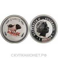 1 доллар Елизавета II. Лунар. Год свиньи. ЦВЕТНАЯ. 2007 год, фото 1