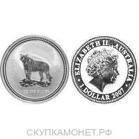 1 доллар Елизавета II. Лунар. Год Тигра. 2007 год, фото 1