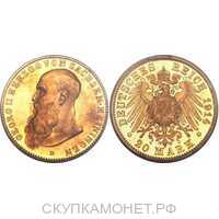 20 марок Георг II. Герцогство Сакс-Майнинген. 1910-1914, фото 1