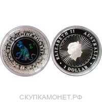 1 доллар Елизавета II. Лунар. Год Обезьяны. Цветная. 2016 год, фото 1