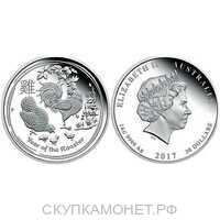 30 долларов. Елизавета II. Лунар. Год Петуха. 2017, фото 1