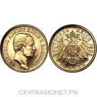 20 марок Фридрих Август II. Королевство Саксония. 1905-1914, фото 1