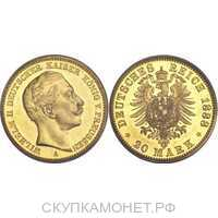 20 марок Вильгельм II. Пруссия. 1888-1889, фото 1