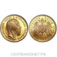 20 марок Карл Гюнтер. Княжество Шварцбург-Сондерсхаузен. 1896 год, фото 1