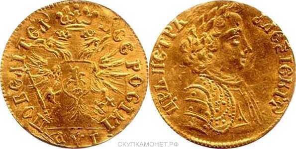 1 червонец 1703 года, Петр 1, фото 1