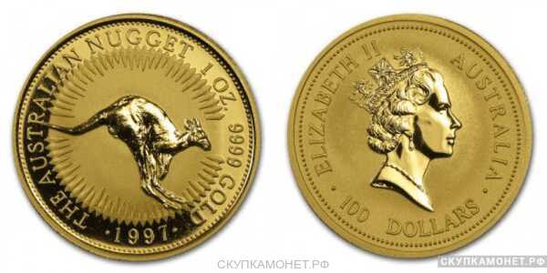 """100 долларов 1997 года """"Кенгуру""""(золото, Австралия), фото 1"""