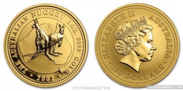 """100 долларов 2002 года """"Кенгуру""""(золото, Австралия), фото 1"""