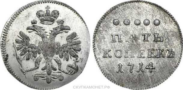 5 копеек 1714 года, Петр 1, фото 1
